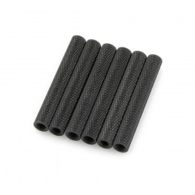 Black Knurled Aluminium Spacer Threaded Standoff M3 x 35mm